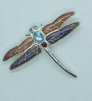 Monet Signed Vintage Dragonfly Pin Brooch Rhinestone Cabochon Enamel Silver Tone
