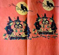 "1 Rare Vintage Three Witches Tarot Reading Pumpkin Halloween Crepe Paper 13x13"""