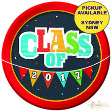 GRADUATION PARTY SUPPLIES 8pk LARGE LUNCH PLATES CLASS OF 2017