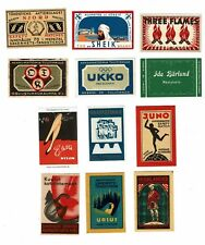 12 Old Finland c1900s matchbox labels Highlander, Njord etc.