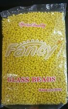 FANCY GLASS BEADS YELLOW/CUENTAS DE CRISTAL ELEKES COLLARES SANTERIA 1LB