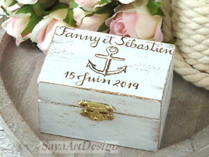 Nautical Beach Custom Personalized Wedding Ring Box. Anchor Ring Holder. Wooden.