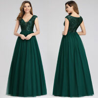 Ever-Pretty Sequins V-neck Long Bridesmaid Dresses Homecoming Wedding Prom Gowns