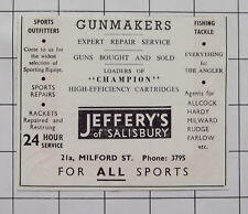 JEFFERY'S Of Salisbury Wiltshire Milford St For All Sports Vintage 1955 Advert