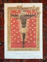 "Antique Black Jesus On Cross Print From Italy 1939 13"" X 9"" Rare Religious Art"