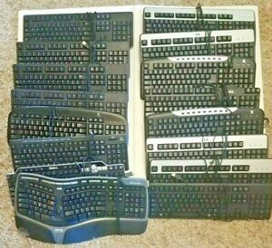 LOT OF 17 Wired Standard Computer Keyboard Various Models Most USB Dell HP