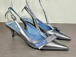 Prada Logo Bow Slingback Pump, Silver Leather, Womens Size 9 / 39