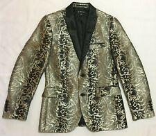NWT,I-N-C Men's Slim Fit Golden / black Printed Two Button Blazer Jacket - LARGE