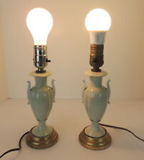 """Pair Of 2 Vintage Small Bed Side Tabletop Lamps Light Green 10.5"""" High Lights"""