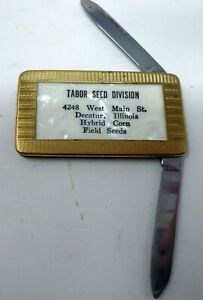 VTG Advertising Gold Pearl Pocket Knife Tabor Seed Decatur IL Colonial Prov RI