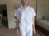 Diane Von Furstenberg White Split Neckline W/Smocked Hem Blouse Size 10