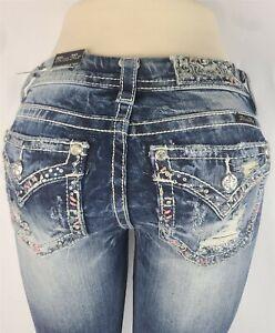 Miss Me Standard Boot Mid Rise Stretch Women's Denim Jeans 28 x 31 ME8551BR