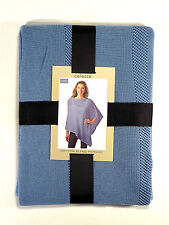 Celeste Poncho Wrap Shawl Blue Cotton Blend Women's One Size New