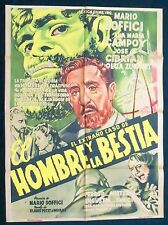 EL EXTRANO CASO DEL HOMBRE Y LA BESTIA MARIO SOFFICI HORROR MEXICAN MOVIE POSTER