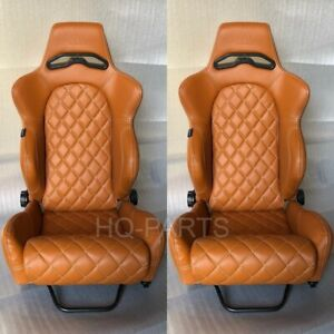 2 X TANAKA TAN PVC LEATHER RACING SEATS RECLINABLE + DIAMOND STITCH FITS NISSAN