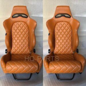 2 X TANAKA TAN PVC LEATHER RACING SEATS RECLINABLE + DIAMOND STITCH FITS NISSAN