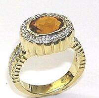 14 KT YELLOW GOLD YELLOW TOPAZ LADY'S RING WITH 0.35 CT DIAMOND