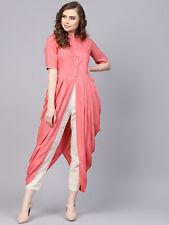 Pink Designer Kurti Women Solid A-Line Cotton Mandarin Collar Designer Kurta