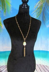 Gold Chain Necklace with Green Beads & a Gold Chain Tassel Pendant 24""