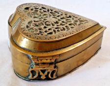 Vintage INKWELL Brass Hear w/Hinged Filigree Lid, 2 Lidded Wells Inside, 4.5x4x2
