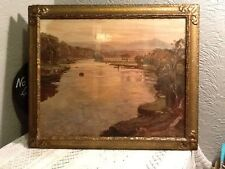 Stunning Antique Large Gesso Gold Picture frame with print #2264