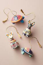 Anthropologie Christmas Ugly Sweater Ornament Set Turtle & Hare *NIB*