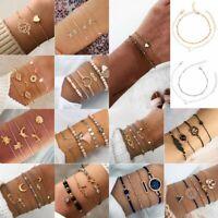 Women Bohemia Bracelet Set Love Moon Rope Tassels Beads Bangle Anklet Chain Gift