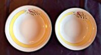 Z S & Co Bavaria China Serving Bowls Yellow Striped with Bird Pattern Antique