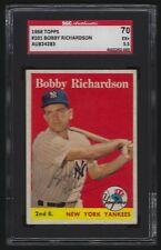 1958 Topps #101 BOBBY RICHARDSON Yankees Signed Card SGC Authentic Auto SGC 5.5