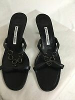 MANOLO BLAHNIK BLACK LEATHER SANDALS HEELS MADE IN ITALY SZ 8