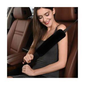 CONNYAM Soft Australian Genuine Sheepskin Wool Auto Seat Belt Cover Seatbelt ...