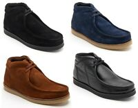 Lucini Mens Suade Leather High Top Lace Up Shoes Smart Casual Ankle Boots