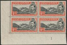 Ascension 1947 KGVI 2d perf 13 Block Mint with Line Across Hill Flaw SG41a