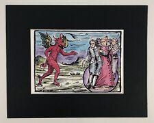Occult Woodcut watercolor art painting original artist's print 'Demon Summoning'