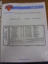17/02/2004 Basketball: New York Knickerbockers v Detroit Pistons (Official Roste