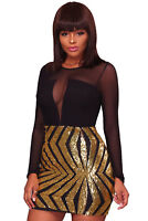 Womens Black & Gold sequin bodycon celeb dress boutique towie size 10 12 14