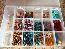 Lot Semi Precious Beads Stones Magnesite Lepidolite Jasper Granite Faceted glass