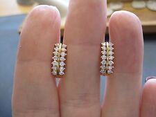 18KT Yellow Gold Drop Diamond Earrings 1CTW G/VS Handmade