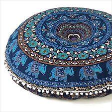"Indian Elephant Mandala Round Yoga Floor Pillow Outdoor Cushion Cove Pom Pom 32"""