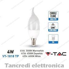 Lampadina led V-TAC 4W = 30W E14 VT-1818TP candela fiamma attacco piccolo smd