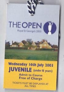 2003 British Open Ticket 4th Practice Day Wednesday July 16th