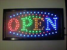 """Bright LED OPEN SIGN ANIMATED NEON LIGHT CHAIN 19"""" X 10"""" BUSINESS/ATM/COFFEE/BAR"""