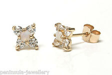 9ct Gold Opal Cluster Studs earrings Gift Boxed Made in UK