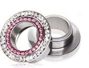 "PAIR-Crystal Gems w/Pink Chain Steel Screw In Ear Tunnels 12mm/1/2"" Gauge Body"