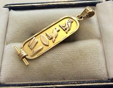 """Lovely Unusual Vintage 18ct Gold Egyptian Hieroglyphic """"Mary"""" cartouche Pendant"""