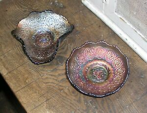 Carnival Glass 2 Antique US Fenton Persian Medallion small Dishes