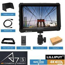 """BLACK Lilliput A7S 7""""FullHD HDMI IPS Monitor 4K input Camera Top Sony F970 plate"""