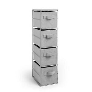 Beautify 4 Tier Grey Storage Cabinet Drawers With Quilted Velvet Baskets Boxes