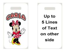 MINNIE MOUSE BAG TAG Personalized NAME Info Custom For Luggage Backpacks