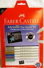 Faber Castell Metallic Pen Sketch Set - 5 Metallic Pens - 25 sheets Black Paper
